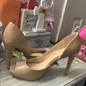 Jessica nude peep toe pumps